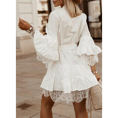 Lace/Solid Long Sleeves/Flare Sleeves A-line Above Knee Elegant Skater Dresses