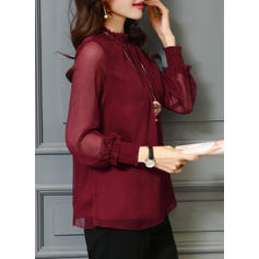 Stand-up Collar Long Sleeves Blouses