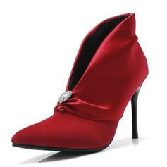 Femmes Satiné Suède Talon stiletto Escarpins Bottines avec Strass chaussures