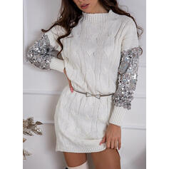 Sequins/Solid Long Sleeves Sheath Above Knee Casual Sweater Dresses