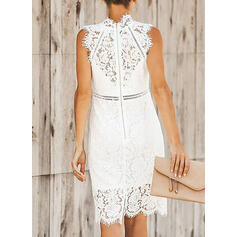 Lace/Solid Sleeveless Sheath Knee Length Little Black/Casual/Elegant Dresses