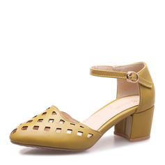 Women's Leatherette Chunky Heel Sandals Pumps Closed Toe Mary Jane With Buckle shoes
