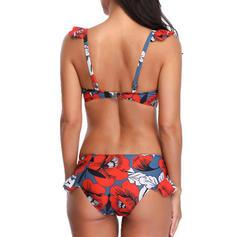 Imprimé Tropical À Bretelles Sexy Bikinis Maillots De Bain