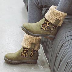 Kvinnor PU Låg Klack Stövlar Halva Vaden Stövlar med Animaliska Tryck skor