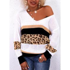 Impresión Trozos de color Leopardo Cuello en V Casual Suéteres