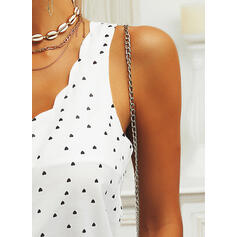 Print Heart Spaghetti Strap Sleeveless Button Up Casual Tank Tops