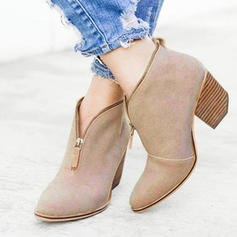 Women's PU Chunky Heel Pumps With Zipper shoes