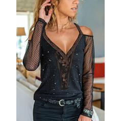 Solid Lace Cold Shoulder Long Sleeves Elegant Blouses