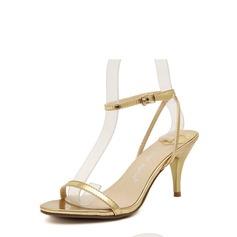 Femmes Similicuir Talon cône Sandales À bout ouvert avec Boucle chaussures