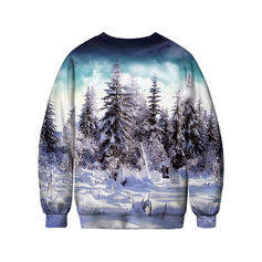 Unisex Polyester Cotton Print Christmas Sweatshirt