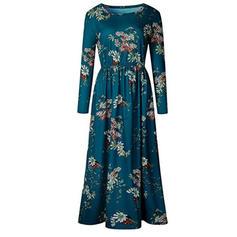 Imprimeu/Floral Mâneci Lungi Tip A-line Casual/Elegant Maxi Elbiseler