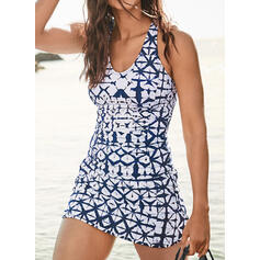 High Waist Print U-Neck Casual Swimdresses Swimsuits