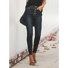 Pockets Shirred Plus Size Tassel Long Casual Sexy Denim & Jeans