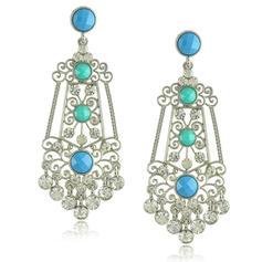 Brillant Alliage Strass Imitation turquoise Dames Boucles d'oreille de mode
