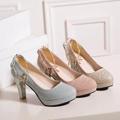 Vrouwen Sprankelende Glitter Chunky Heel Pumps Plateau Closed Toe met Strass Tassel schoenen