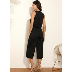 Lace Solid Round Neck Sleeveless Casual Jumpsuit