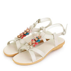 Women's Leatherette Flat Heel Sandals Flats Peep Toe Slingbacks With Buckle Flower shoes