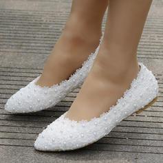 Femmes Similicuir Talon plat Bout fermé Chaussures plates avec Perle d'imitation Motif appliqué
