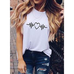 Heart Print Round Neck Short Sleeves T-shirts