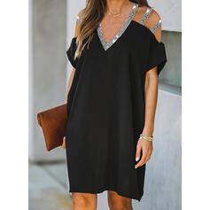 Sequins/Solid Short Sleeves Shift Knee Length Little Black/Elegant Dresses