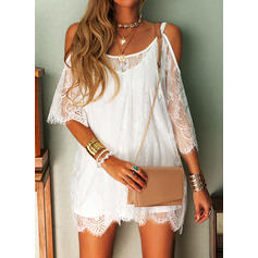 Lace/Solid 3/4 Sleeves Shift Above Knee Casual/Vacation Dresses