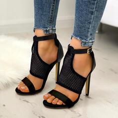Mulheres PU Salto agulha Sandálias Peep toe com Oca-out sapatos