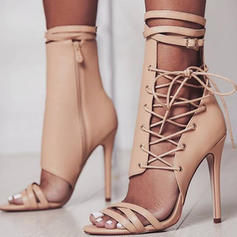 Donna PU Tacco a spillo Stiletto Stivali Punta aperta Stivali altezza media con Cerniera Allacciato scarpe