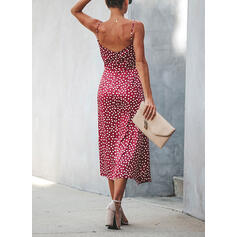 PolkaDot Sleeveless Sheath Casual/Vacation Midi Dresses