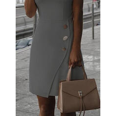 Solid Sleeveless Sheath Knee Length Casual Dresses
