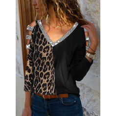 Patchwork Sequins Leopard Cold Shoulder Long Sleeves Casual Sexy Blouses