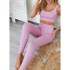 U-Neck Sleeveless Color Block Sports Leggings Sports Bras