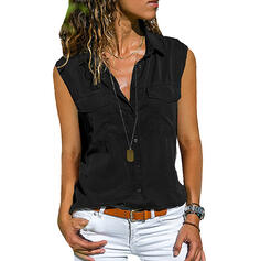 Solid Lapel Sleeveless Button Up Casual Tank Tops