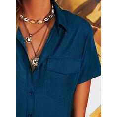 Düz / Tek (Renk) klapa Kısa kollu Düğmesiz Yakalı Günlük Gömlekler