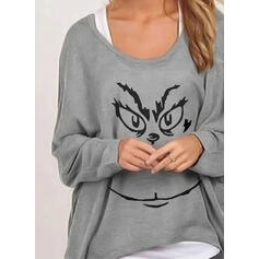Print Round Neck Batwing Sleeves T-shirts