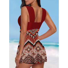 Tisk Geometric Na ramínka Krásné Casual Plavkové šaty Costume de baie