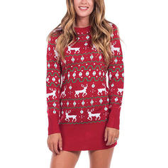 Animal Print Round Neck Casual Long Christmas Ugly Christmas Sweater