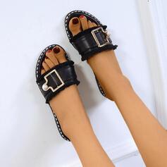 Női PU Lapos sarok Szandál Peep Toe Papucs -Val Pearl utánzat cipő