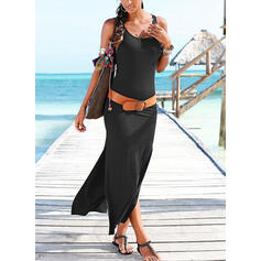 Solid Sleeveless Sheath Casual/Vacation Maxi Dresses