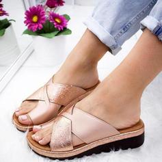 De mujer PU Tacón plano Sandalias Planos con Correa Trenzada zapatos