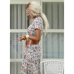 Nadrukowana Krótkie rękawy W kształcie litery A Łyżwiaż Boho/Wakacyjna Maxi Sukienki