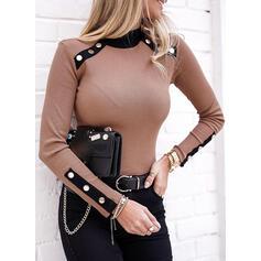 固体 スタンドアップカラー 長袖 ボタン開閉式 カジュアル Knit ブラウス