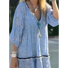 Print 3/4 Sleeves Shift Above Knee Vintage/Casual/Vacation Dresses