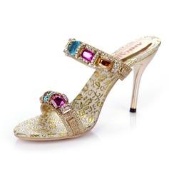 Women's Sparkling Glitter Stiletto Heel Sandals Slingbacks With Rhinestone shoes