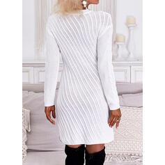 Sólido Encaje Cuello Redondo Casual Vestido de Suéter