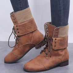 Kvinnor PU Tjockt Häl Stövlar med Bandage skor