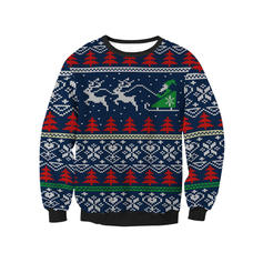 Unisexe Polyester Inmprimé Renne Sweat de Noël