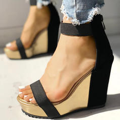 Donna PU Zeppe Sandalo Punta aperta scarpe
