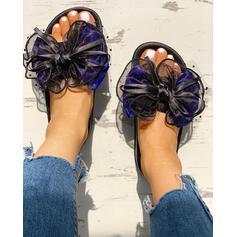 Vrouwen Stof Mesh Flat Heel Sandalen Peep Toe Slippers met strik schoenen