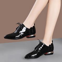 Bayanlar Rugan Düşük Topuk Flats Ile Bağcıklı ayakkabı ayakkabı