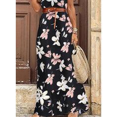 Impresión/Floral Manga Corta Vestido línea A Patinador Casual Maxi Vestidos